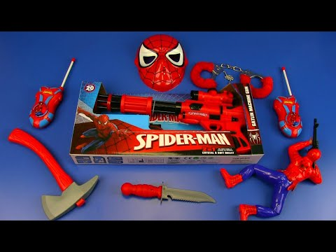 Box Of SPIDER-MAN Toys ! Red Guns Toys-Colored Gun Toy For Kids
