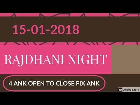 (15 January 2018) Date FIX 4 Ank of RAJDHANI  NIGHT satta matka game (Raj Night)