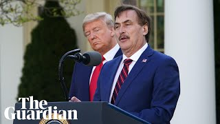 Us president donald trump uses his white house coronavirus briefing to promote companies doing their 'patriotic duty' by producing or donating medical equipm...