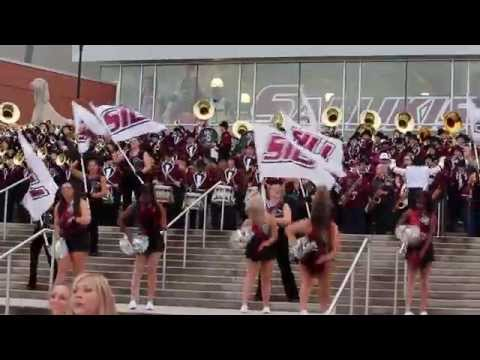 Marching Salukis Hey Mama on the steps of the SIU Arena