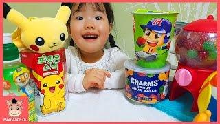 포켓몬 피카츄 홈런볼 과자 뽀로로 음료 미니 캔디샵 사탕 뽑기 장난감 놀이 ♡ 어린이 먹방 인형놀이 candy shop kids toys | 말이야와아이들 MariAndKids