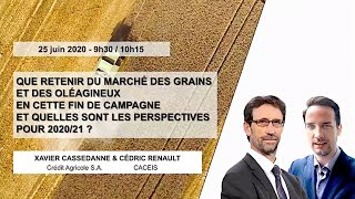 Webinar #1 – Replay Commodities / Bilan fin de campagne grains et oléagineux - Perspectives 2020/21