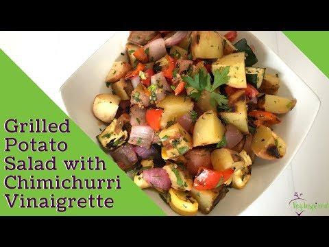 Grilled Potato Salad with Chimichurri Vinaigrette | Vegan | WFPB