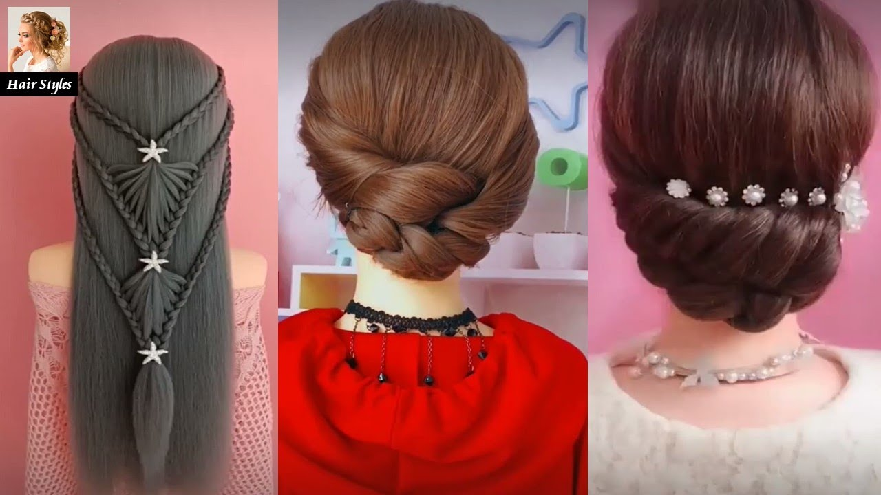 New Hairstyle for Party, wedding, function | Hair style girl | 3 easy hairstyles for long hair ...