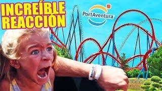 REACCION de NIÑA PEQUEÑA en MONTAÑA RUSA PortAventura 😱🎢 MUY ÉPICO!! Itarte Vlogs