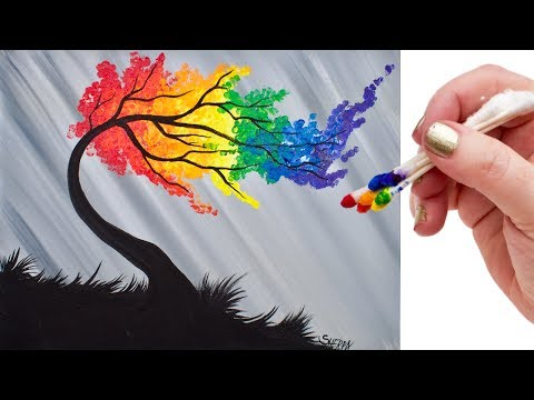 rainbow-willow-tree-q-tip-acrylic-painting-for-beginners-tutorial-🌈🎨💜