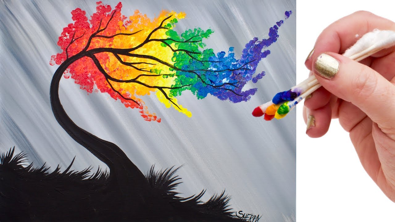 Rainbow Willow Tree Q Tip Acrylic Painting For Beginners
