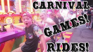 CARNIVAL GAME CHALLENGE & TERRIFYING CARNIVAL RIDES!