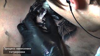 Процесс нанесения тату в стиле реализм (3д) - тигр на ноге