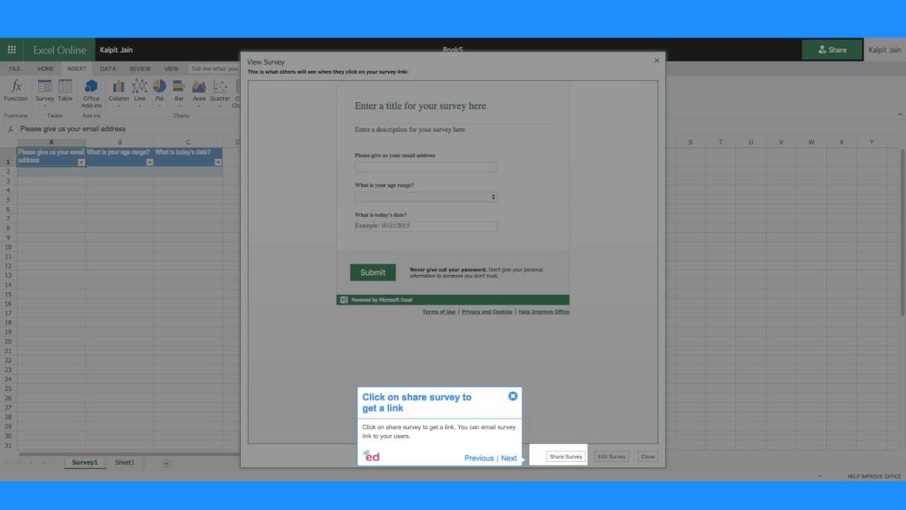 How to quickly insert a survey in Excel Online