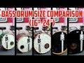 """Bass Drum Size Comparison (16""""-24"""")"""