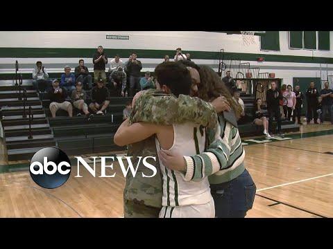 Father surprises son at high school 'senior night'