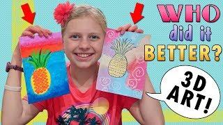 Who Did it Better?? Pineapple Art Sis Vs Bro Vs Aunt Vs Mom!