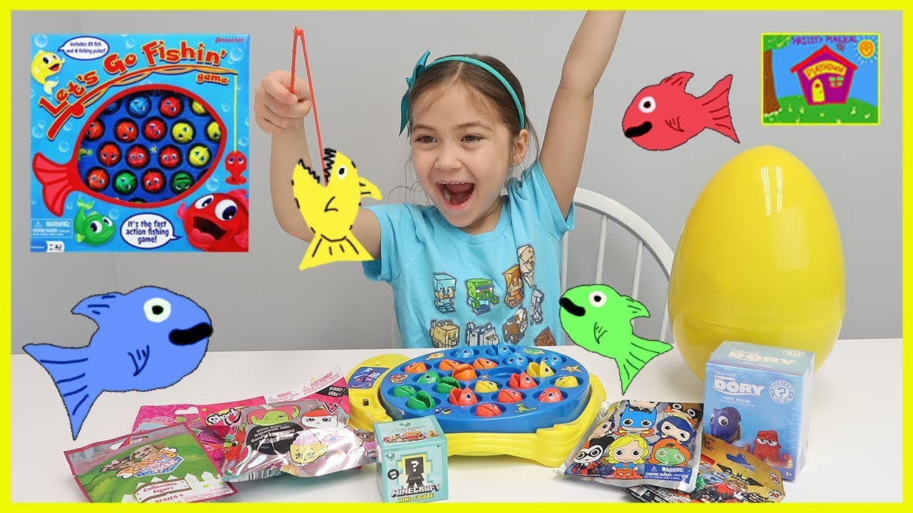 Let 39 s go fishing game surprise toys challenge fun for Kids fishing game