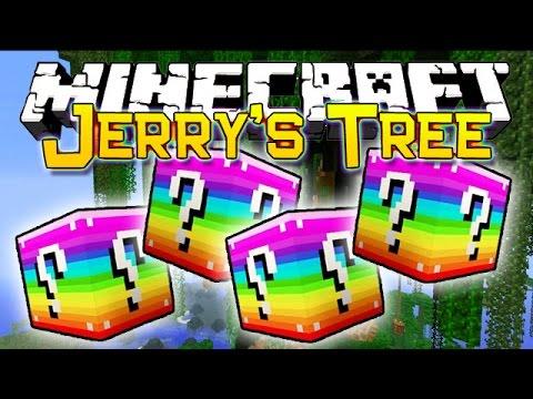 UNLUCKY RAINBOW BLOCKS JERRY'S TREE MOD CHALLENGE - MINECRAFT MODDED MINI-GAME!