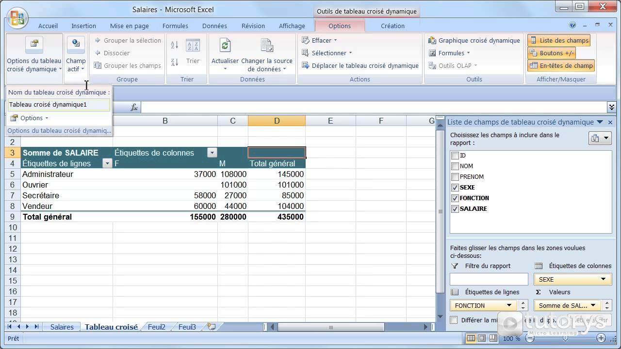 Comment Modifier Les Options Du Tableau Croise Dynamique Avec Excel 2007 Youtube