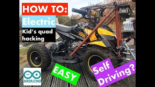 Real 1000Watt Electric kid's quad hacking with Arduino: Line following obstacle detection!