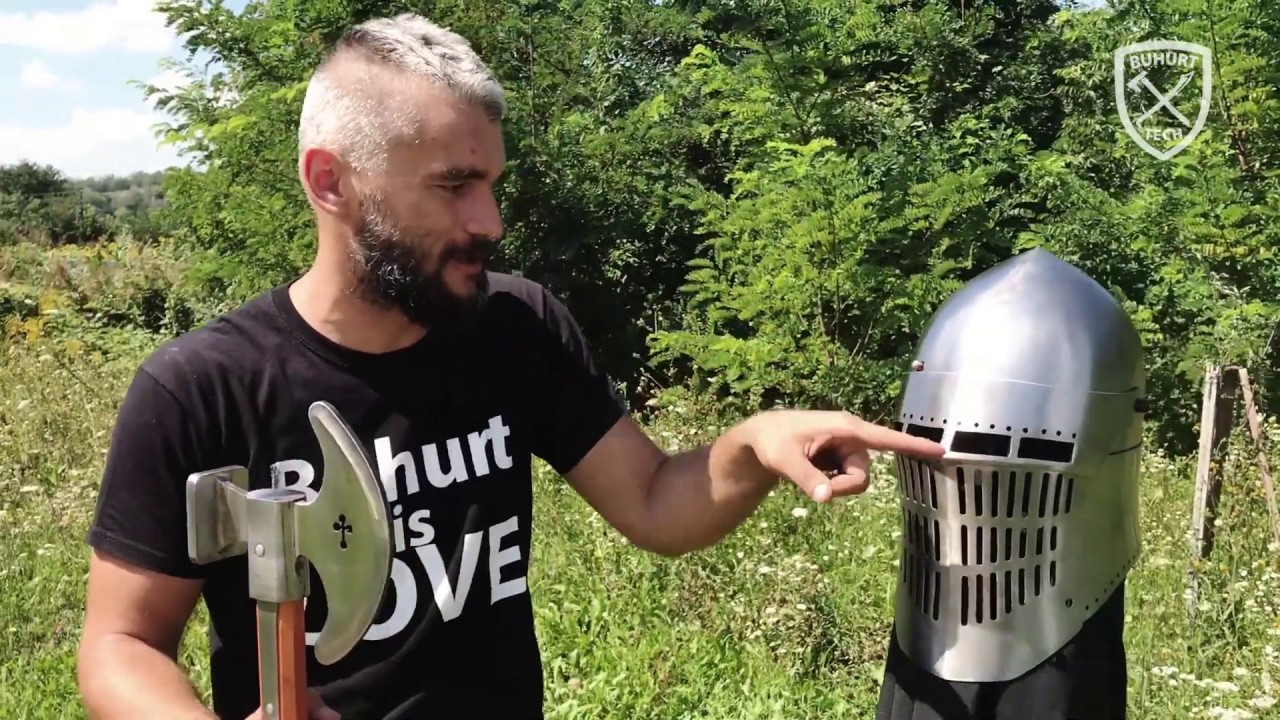 Buhurt Tech TV - Hardcore crush test of medieval combat sport helmet