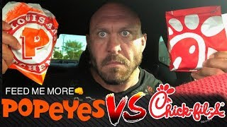 Ryback Chick-Fil-A VS Popeyes New Original Classic & Spicy Sandwiches (EATS ALL 4) Food Mukbang