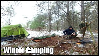 2 Day Winter Camping Expedition: Exploring, Bacon Steak Wrap & Tripod Campfire Cooking, Tent Camping