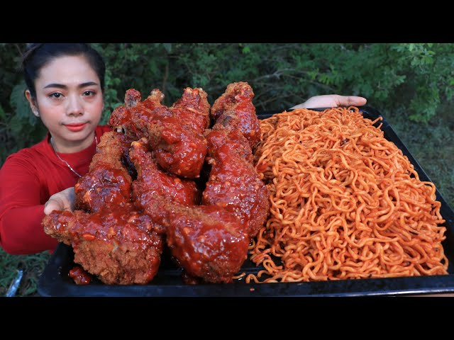 Cooking noodle with chicken leg crispy recipe - Cooking skill