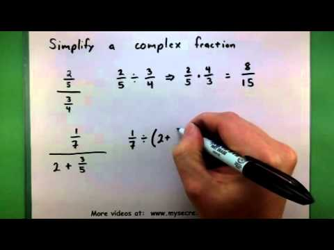 Basic Math - Simplify A Complex Fraction - YouTube