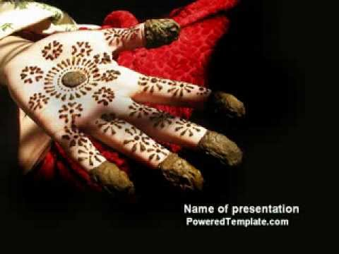 Mehndi Hands Powerpoint : Hennaed hands powerpoint template by poweredtemplate youtube
