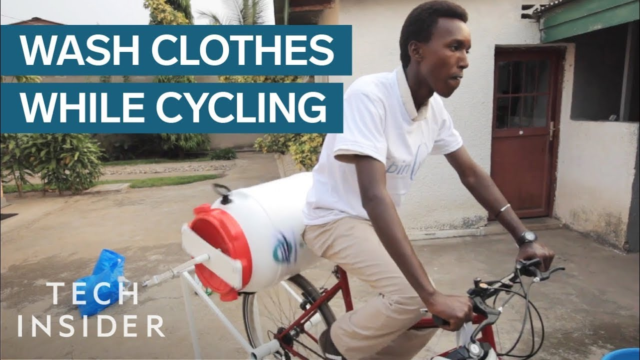 Machine Washes Your Clothes While You Cycle - YouTube