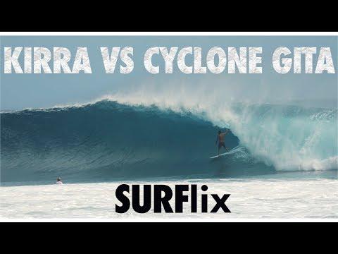 KIRRA VS CYCLONE GITA IN SLOW MOTION SURFING GOLD COAST QUEENSLAND AUSTRALIA 2018