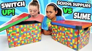 BACK TO SCHOOL SUPPLIES SWITCH UP SLIME CHALLENGE!!