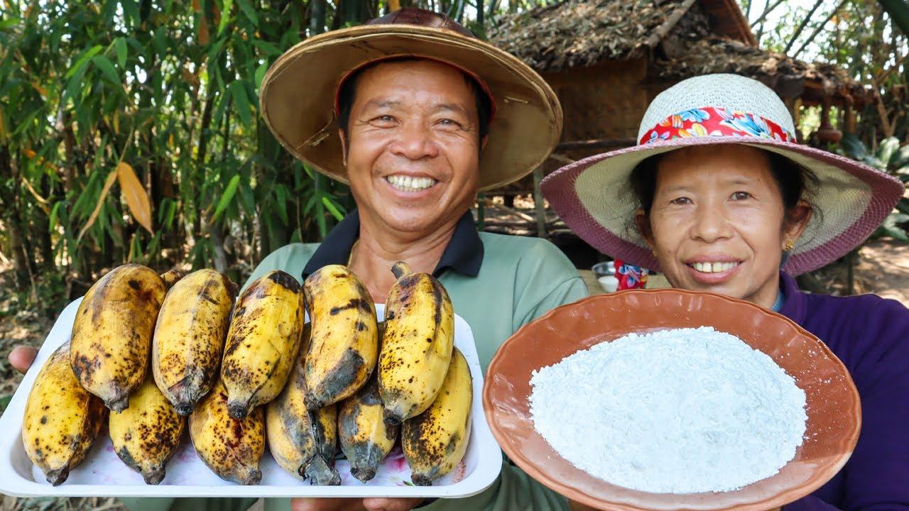 ขนมโบราณ!! ไม่ใส่น้ำตาล แต่หวานมาก!! ขนมกล้วย l ครัวป่าไผ่ SAN CE
