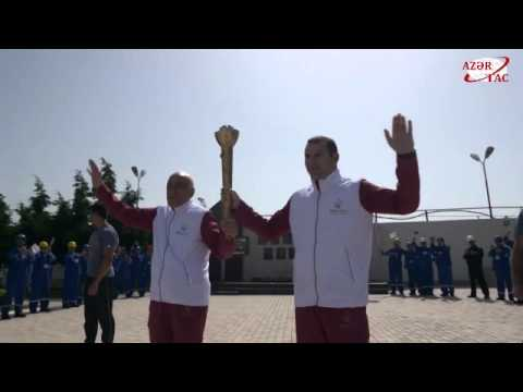 Baku 2015 flame in Oil Rocks