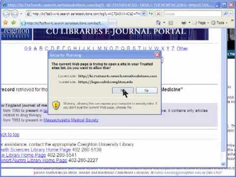 Electronic Journal Access Via the E-journal Portal (Creighton University HSL)