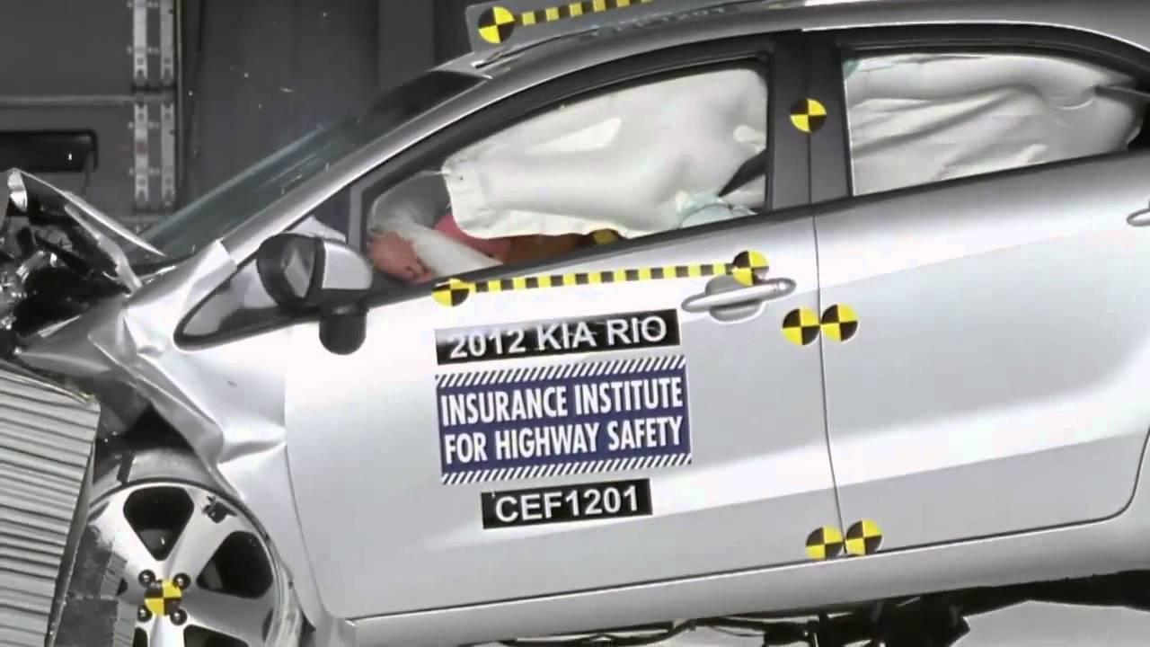 crash test 2012 - kia rio (frontal offset) iihs - youtube