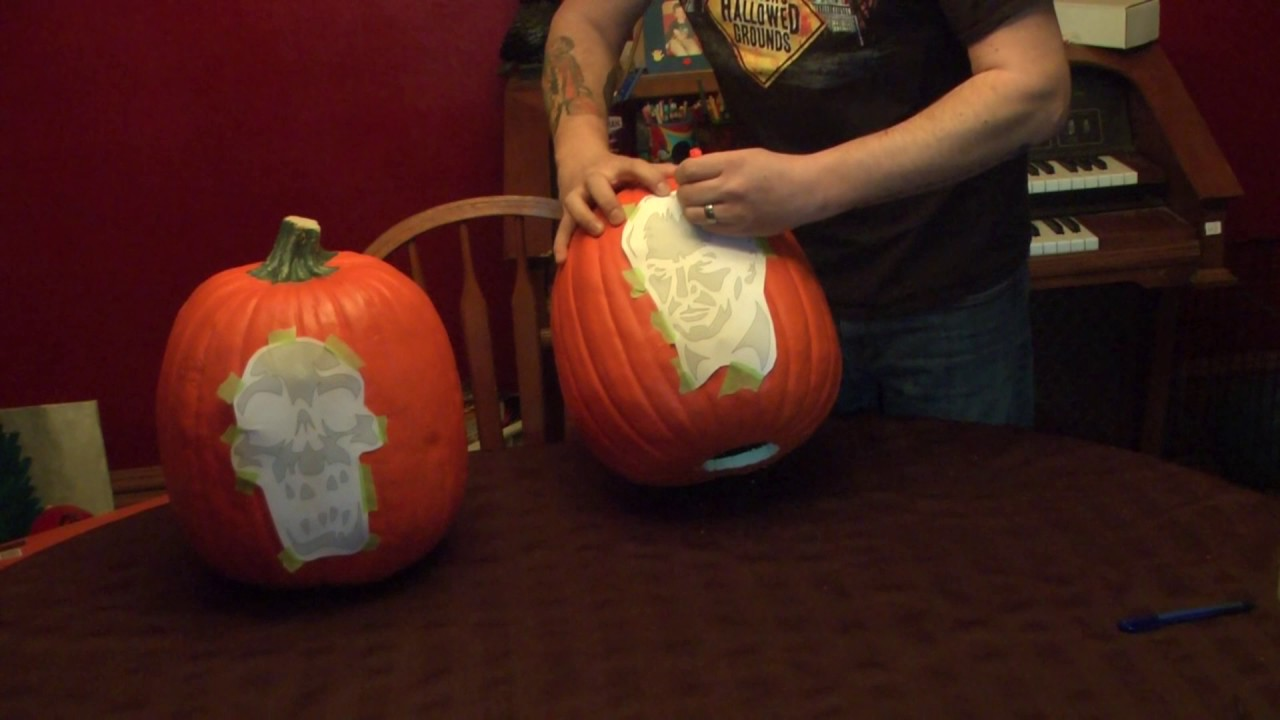 Funkins foam pumpkin carving featuring zombie pumpkins template