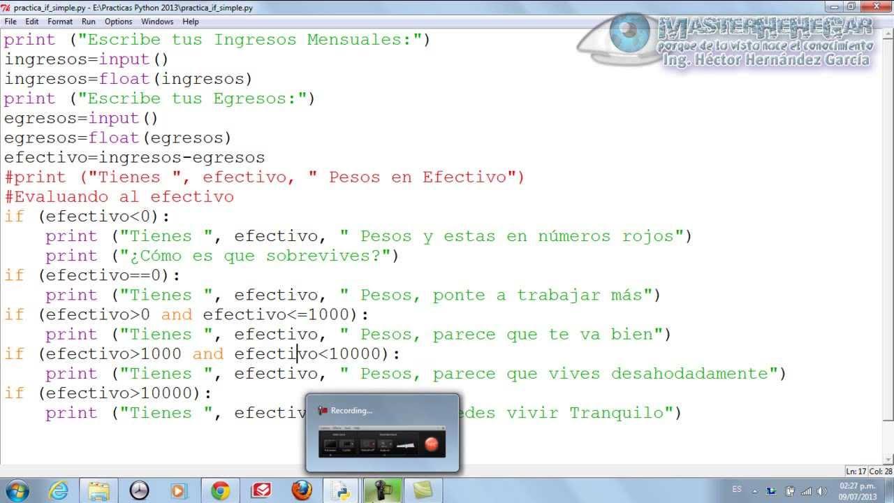 10 - Ejercicio Práctico con Estructura Condicional Simple if (Python ...