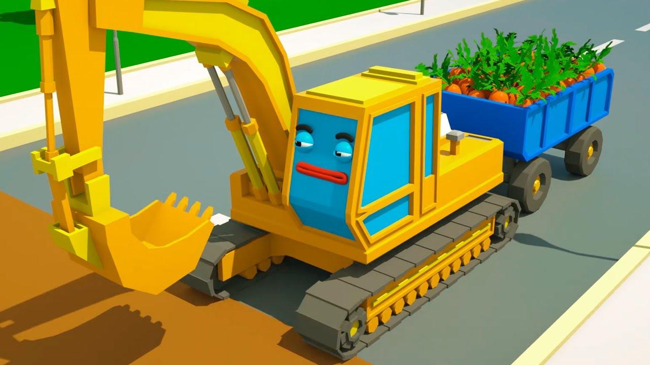 Pelleteuse VS Dépanneuse Cars Town - Dessins animés pour les enfants