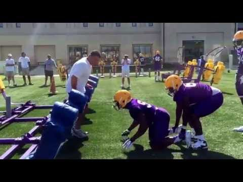 Ed Orgeron coaches at LSU practice