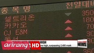 Korean stocks hit all time high, surpassing 2,400 mark