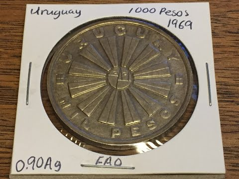 Uruguay 1000 Pesos 1969 (Large Silver Coin of the Week Dec 13 2016)