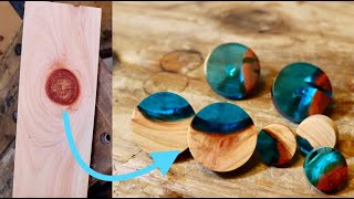 木の節とレジンのピアス How to make wood and epoxy pias from knots.