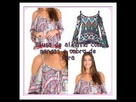 bdd6f16ea1 Blusa de alça com manga e ombro vazado