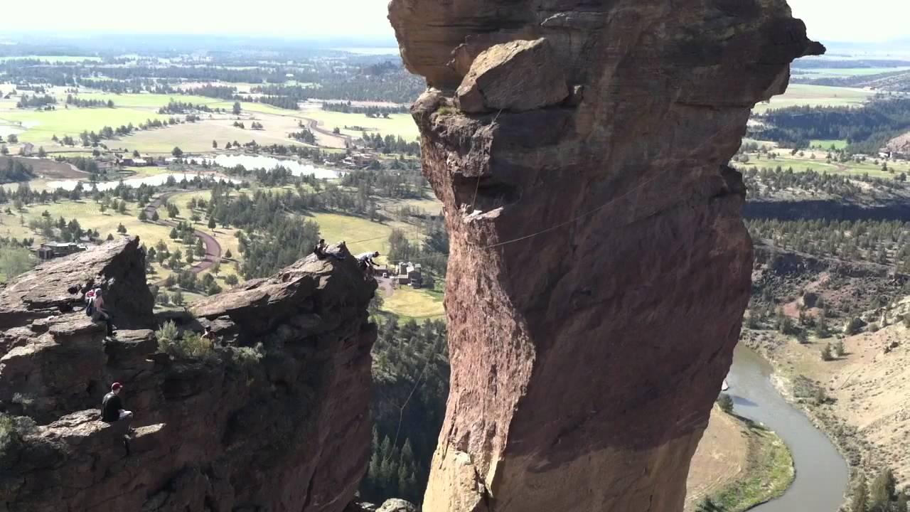 Smith Rock Monkey Face rock climbing rope swing