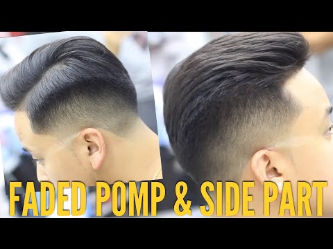 How to Fade & Style a Side Part Pompadour! Coarse Thick Hair