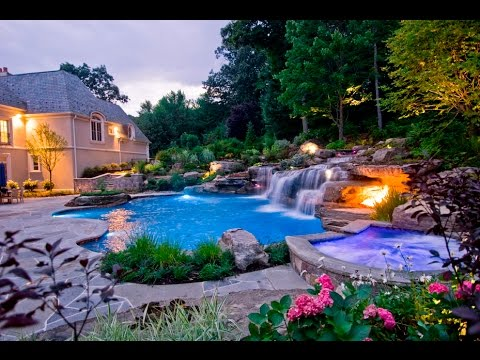 Mahwah nj pool waterfalls design youtube for Garden city pool jobs