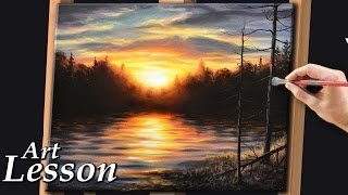 Acrylic Painting Lesson | Sunset and water landscape
