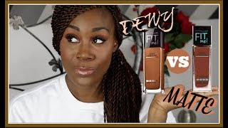 MAYBELLINE FIT ME MATTE & PORELESS VS DEWY & SMOOTH | 360 MOCHA  | MELANIN GOODNESS HUNNY