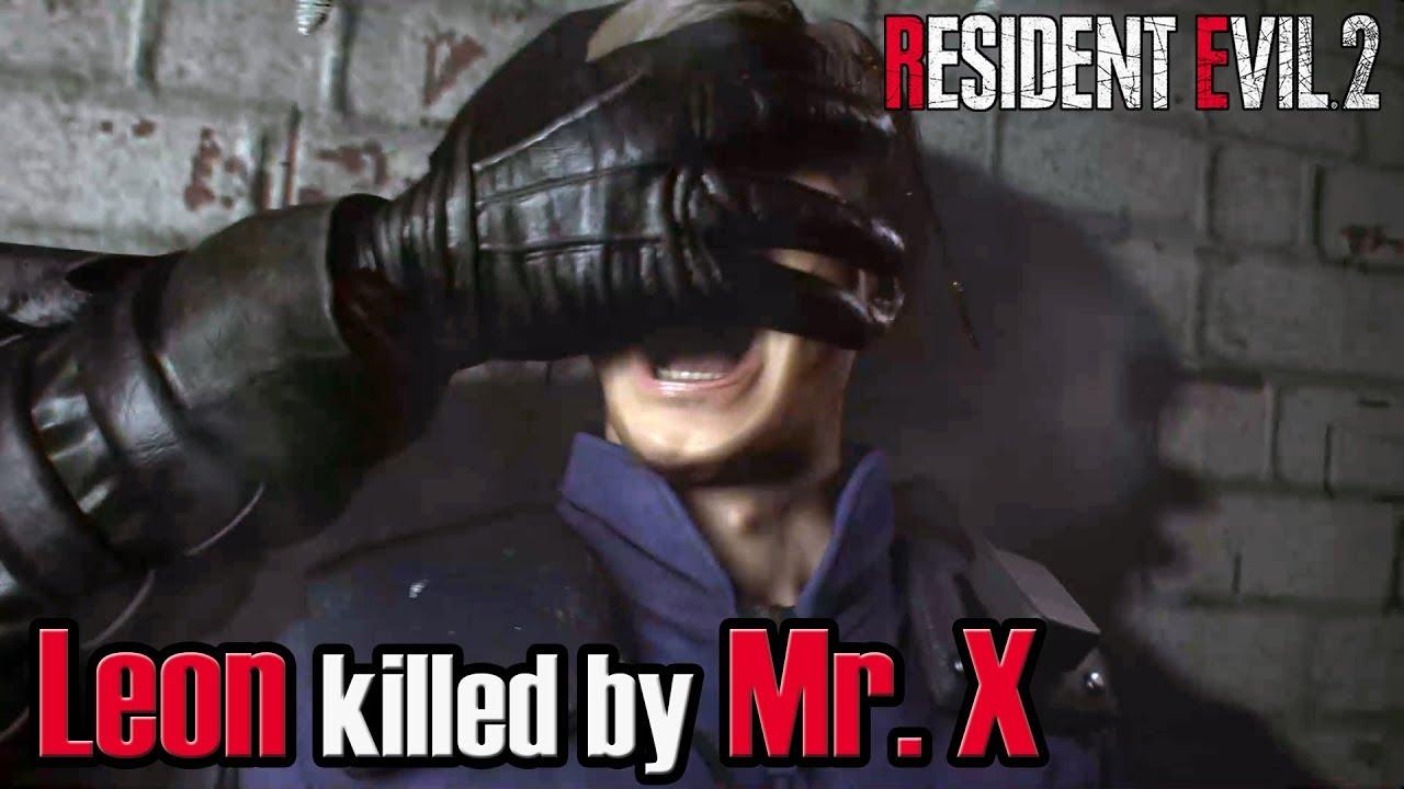 Resident Evil 2 Remake Leon Killed By Mr X Tyrant Youtube