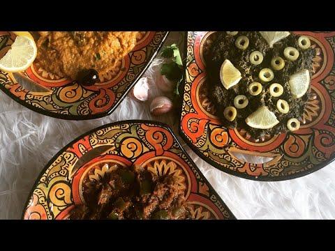 recette-thermomix-trois-salade-marocaine-be9oula(épinard)zaalouk-d'aubergines-et-taktouka-(poivron)