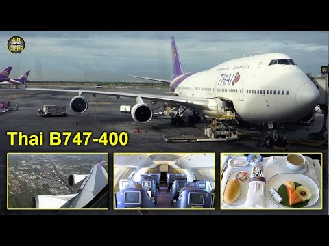 "Thai Airways Boeing 747-400 Business Class ""74N"" config BKK-Sydney  [AirClips full flight series]"